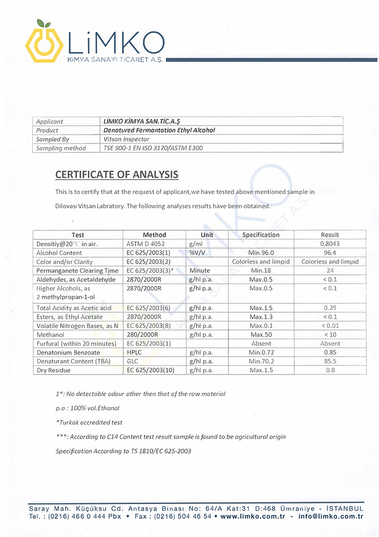 Ethyl Alcohol Certificate of Quality 96